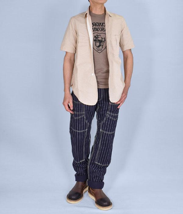 ワーク系シャツにワークパンツ、ワークブーツをセレクトしたアメカジらしいコーディネート。メンズ長袖シャツコーデ