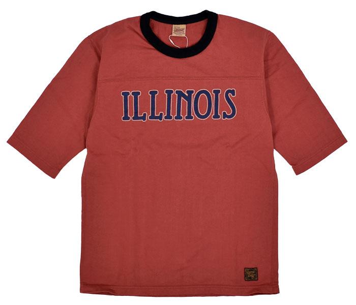 デラックスウエア (DELUXEWARE)ILLINOIS 半袖プリントTシャツ フットボールTシャツ URES-07 R.ORANGE
