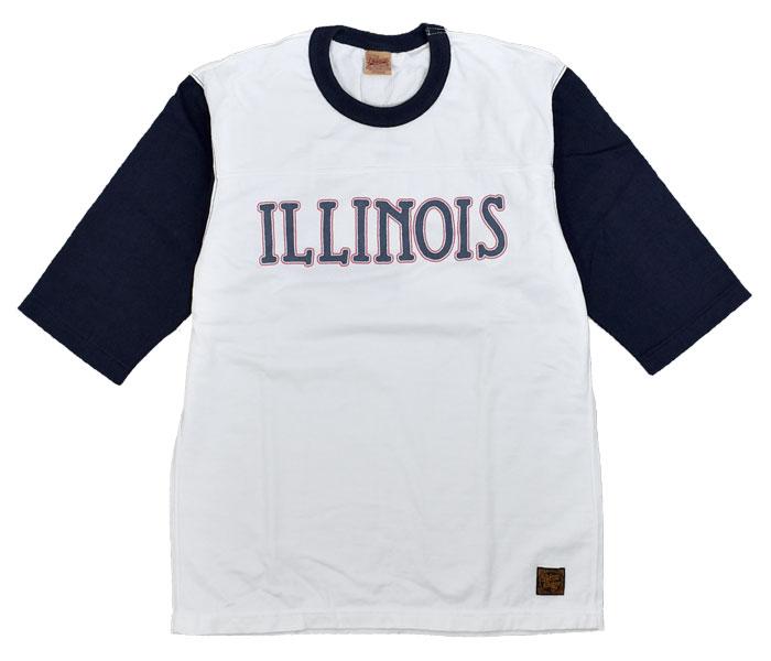 デラックスウエア (DELUXEWARE)ILLINOIS 半袖プリントTシャツ フットボールTシャツ URES-07 WHITE