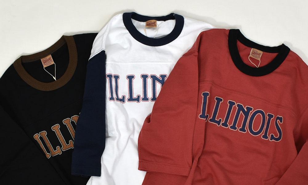 デラックスウエア (DELUXEWARE)ILLINOIS 半袖プリントTシャツ フットボールTシャツ URES-07