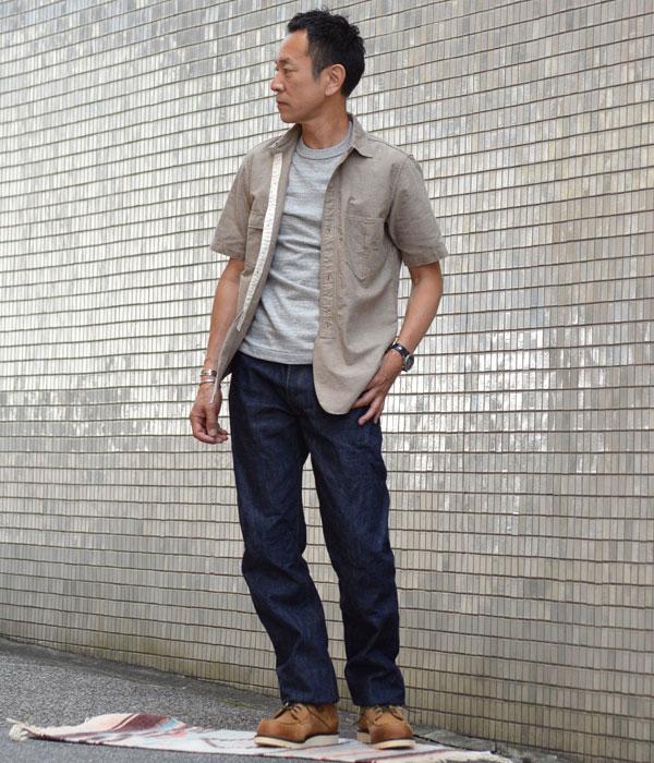 ウエアハウス (WAREHOUSE) ポケット Tシャツ 半袖無地Tシャツ 4601を使ったメンズコーディネート