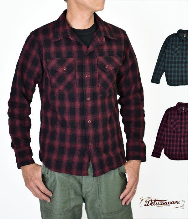 デラックスウエア(DELUXEWARE)OVERLAP B.F CHECK 長袖バッファローチェックシャツ MVS-05