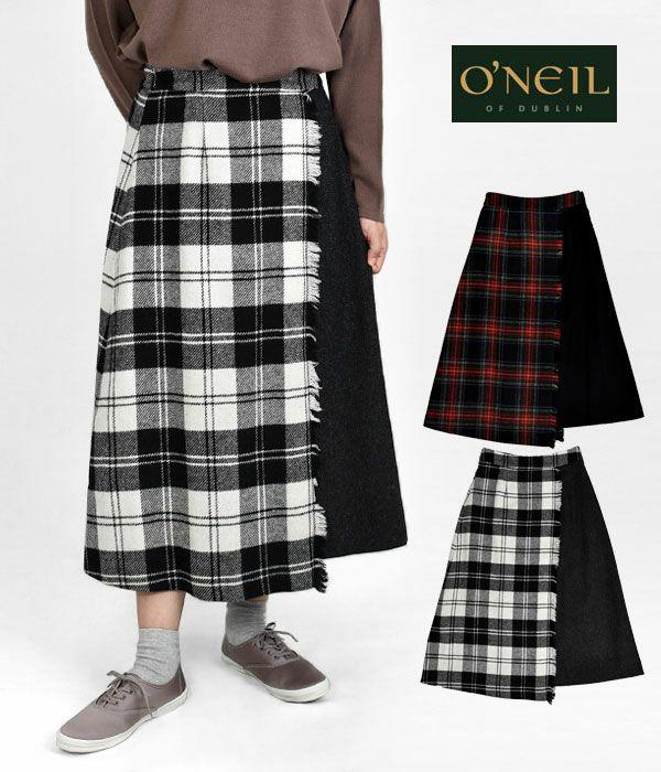 オニールオブダブリン (ONEIL OF DUBLIN)ヘビーツイード タータンチェック コンビラップフレアスカート C807