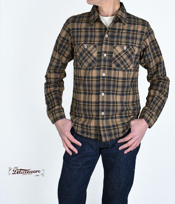 デラックスウエア(DELUXEWARE)THROUGH CHECK 長袖コットンチェックシャツ LV-22