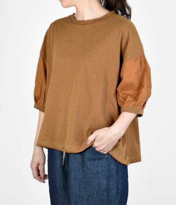 カフェッティ (Cafetty) リネン混 ドロスト P/O 5分袖パフスリーブTシャツ CF-6035