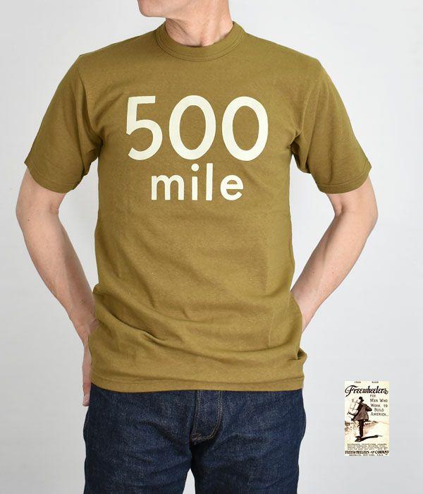 フリーホイーラーズ (FREEWHEELERS)MOTOR CULTURE SERIES 500 MILE RACE OLIVE DRAB 半袖プリントTシャツ 2125011