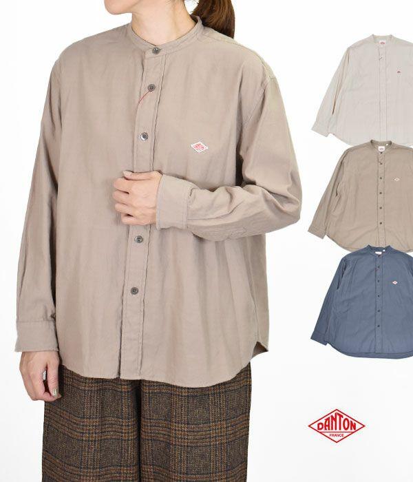 ダントン(DANTON) BMS BAND COLLAR SHIRT L/S バンドカラー 長袖コットンシャツ ノーカラーシャツ DT-B0001BMS